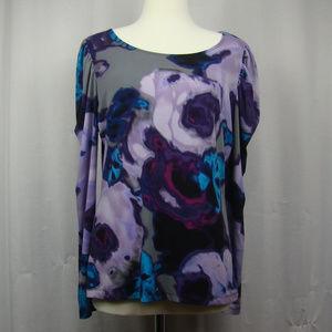 Worthington long sleeved blouse LG purple blue